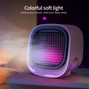 USB Mini Air Conditioner with Colorful Light Portable Humidification Desktop A