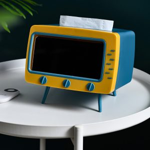 2 in 1 Portable Tissue Box Office Desk Paper Container Creative TV Appeara (22)