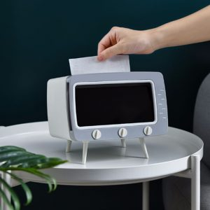 2in1 TV tissue box container tissue napkin holder phone stand_ mobile phone viewing racks (1)