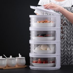 Kitchen Stackable Insulation Dust Proof Food Leftover Container with Lid Cover2